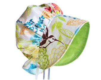 Modern Baby Bonnet, Sun Hat, Girl Sun Bonnet,  Summer Bonnet, Newborn Bonnet, Cotton Toddler Hat, Hummingbird Floral Beach Hat Made To Order