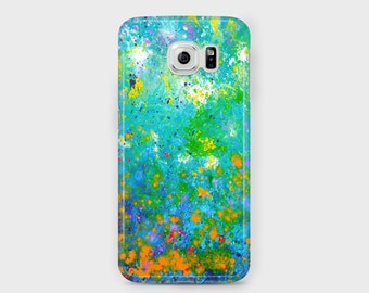 Teal Abstract Samsung Phone Case - Blue & Yellow Unique Abstract Art Case for Samsung Phones - Galaxy S4/S5/S6/S7 Edge Ace