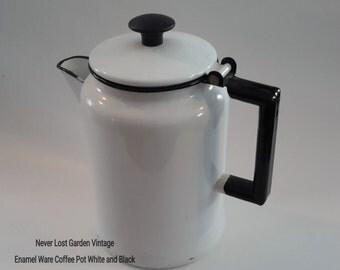 Coffee Pot Enamel Ware White and Black Vintage