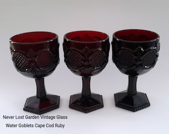 Ruby Red Water Goblets Avon 1876 Cape Cod