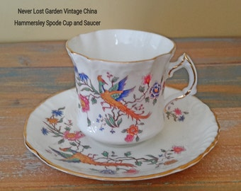 Tea Cup and Saucer Hammersley Spode Bird of Paradise Vintage