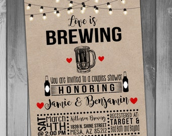 Bridal Shower Invitation Love Is Brewing Invitation Coed Bridal Shower Invitation Couples Bridal Shower Wedding Shower Rustic Bridal Shower