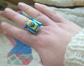 dicrotic fused glass ring
