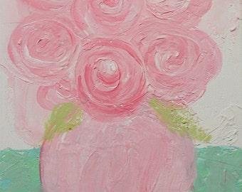 Pink Roses Palette Knife Painting PRINT Instant Digital Download