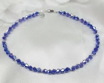 Blue Sapphire Ankle Bracelet Cobalt Anklet Blue Crystal Anklet Sapphire Anklet Heart Anklet Dark Sterling Silver Anklet BuyAny3+1Free