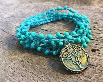 Blue Skies: Versatile crocheted necklace / bracelet / belt / headband