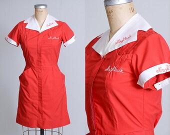 70s Mr. Steak Waitress Uniform Red Fitted Mini Dress