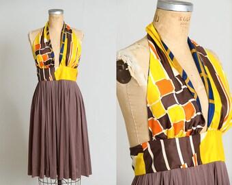 70s Halter Dress Bohemian Open Back Disco Nights Party Dress
