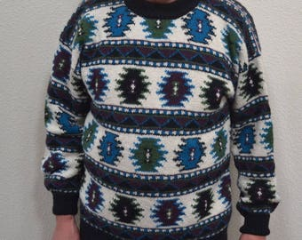 Vintage  Royal Alpaca Unisex sweater pure alpaca hand knit in Peru size Large classic Nordic  sweater Christmas  gift unisex sweater NOS