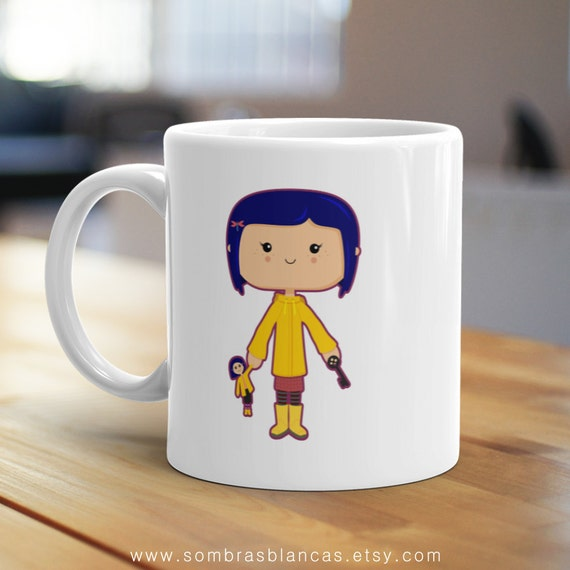 Button-Eyed Mug, Unique Coffee Mug, Illustrated Mug, Cute Mug, Gifts for Him, Gifts for Her, Movie Mug, Film Mug, Fantasy Mug
