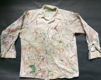 Vintage Paint Splatter Heavily Distressed Painter Smock Shirt