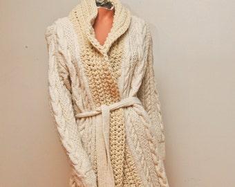 Cream Cotton/Wool Cardigan