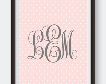 Pink & Gray Polka Dot Monogram. Digital Print. Monogram Print. Custom Nursery Art. Pink Nursery Decor. Polka Dot Baby Shower. Baby Girl Gift
