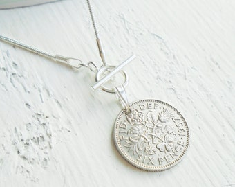 60th Birthday Gift for Women, 1957 British Lucky Sixpence Necklace, 60th Present for a Woman, 60th Wedding Anniverary Gift, Coin Necklace