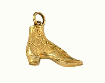 Antique Gold Filled Charm - High Button Shoe - C1900s  Victorian Wedding Bouquet Charm - Vintage Charm for Bracelet, Necklace Jewelry Supply