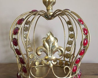 Vintage Crown /  Large King's Crown with Fleur De Lis / Father's Day Gift