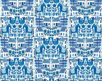 Blue Scandi Tea Towel