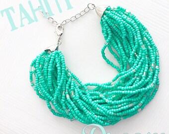 Statement Bracelet, Chunky Turquoise Bracelet, Turquoise Statement Bracelet, Seed Bead Bracelet, Bridsmaid Bracelet, Beach Jewelry