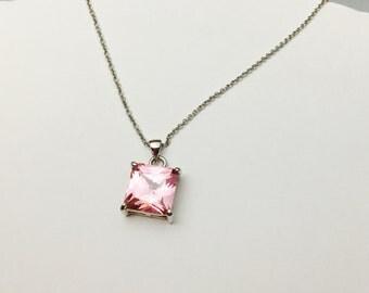 Vintage pink CZ Pendant/Necklace, stamped 18 KGF, Clearance SALE, Item No. B460