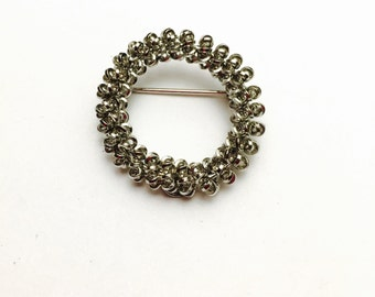 Vintage 12KGF Wreath Shape Brooch Stamped Sidmore, Silver Color, Clearance Sale, Item No. B530