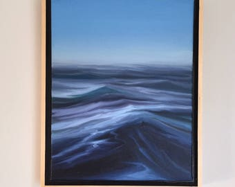 """Framed 11"""" x 14"""" oil painting. waterscape, beach, ocean, wave, surf fine art. contemporary realism."""