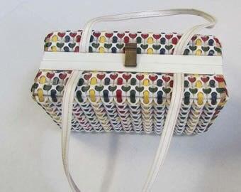 Vintage 1960s Woven Plastic Bag Purse Clutch