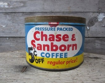 Vintage Tin Coffee Can Chase Sanborn Blue Red White Metal Tin Container Storage Display Country Farm Retro Kitchen Rustic Primitive Vtg Old