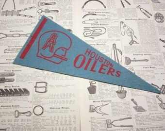 Vintage Houston Oilers Football Team 1970s Era NFL Small 9 Inch Mini Felt Pennant Banner Flag vtg Collectible Vintage Display Sports