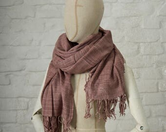 ERI SILK SHAWL / hand spun and handwoven / faded plum
