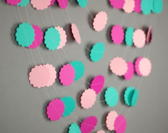 Pink Aqua Birthday Garlands, First Birthday Decorations, Sprinkle Party Decor, Flower Garlands, Photo Booth Backdrops, Paper Banners, Garden