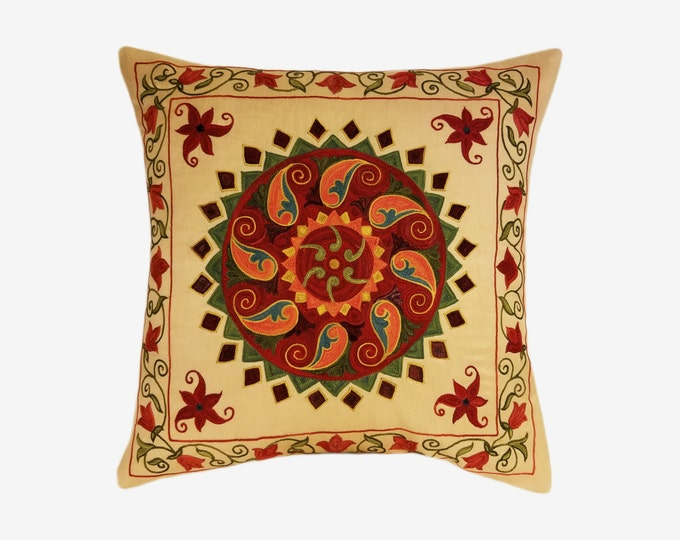Hand Embroidered Suzani Pillow Cover SP7-03, Suzani Pillow, Uzbek Suzani, Suzani Throw, Boho Pillow, Decorative Pillows, Accent Pillows