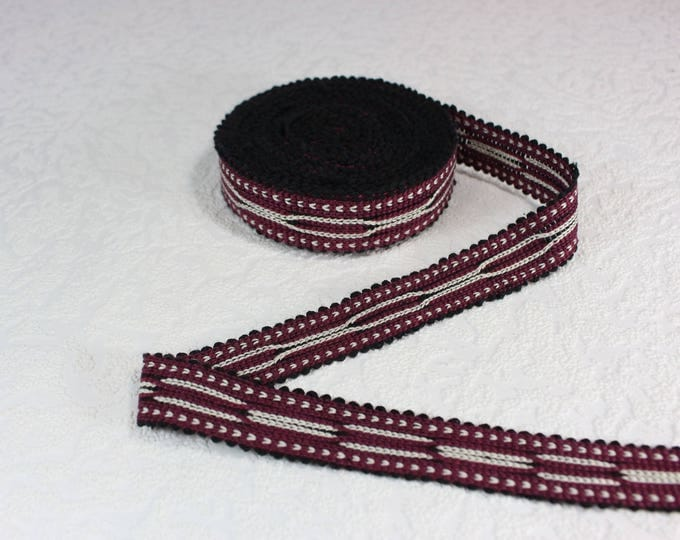 Woven Trim (6 yards), Woven Border, Cotton Ribbon, Grosgrain Ribbon, Dress Border, Border Trim, Ikat Fabric, R381