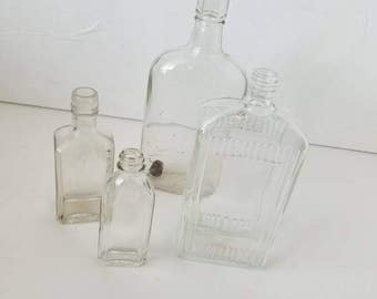 Set of 4 Assorted Glass Antique Bottles Clear Apothecary Bud Vases Wedding Decor