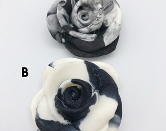 Resin Monochrome Marbled Rose Brooch