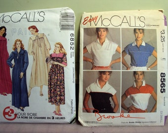 Package of two McCalls patterns, robe and knit shirt, 1980s style