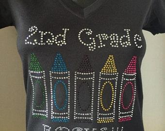 2nd Grade Rocks (Crayons) Custom Bling T-Shirt