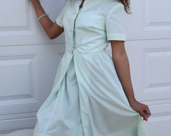 Light Green Cotton 1940's Day Dress Mandarin Hong Kong/Dante's Department Store/Panama/Free shipping!