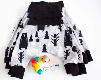 Winter baby pants | bears black grey and white harem trousers| various child sizes 0-3m, 3-6m, 6-12m
