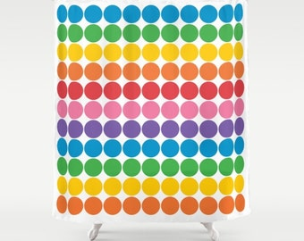 Rainbow Gum Balls Polka Dot Shower Curtain, rainbow polka dot bathroom shower curtains, rainbow polka dots bathroom decor