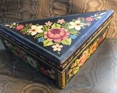 Vintage Olinala Enamel Hand Painted Box, Mexican, Flowers