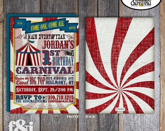 Carnival Invitation   Circus Invitation   Carnival Invite   Circus Invite   Vintage Carnival Invitation   Address Labels   Printable