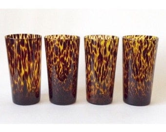 Tortoise Shell Cocktail Glasses, Set of 4