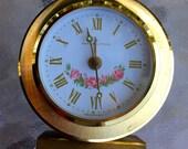 "Vintage 60's ""HAMILTON ALARM CLOCK"" Gold Toned Brass Handwind Fancy Face Dial"