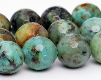 """10MM African Turquoise Beads Grade AAA Natural Gemstone Full Strand Micro Faceted Round Loose Beads 15"""" BULK LOT 1,3,5,10,50 (100808-882)"""
