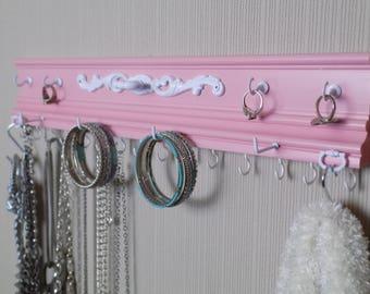 "Compact & effecient Pink Jewelry Organizer 15 Hooks for necklaces. 20"" bracelet bar.2 ring hooks  closet organization storage"