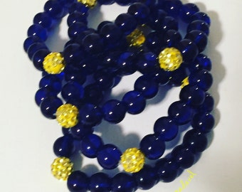 Clear navy blue and yellow stack