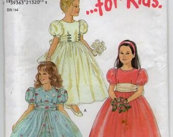 Formal Dress Bridal Gown Flower Girl Optional Overskirt Short Sleeves Girl's Size 3 4 5 6 7 8 Children's Sewing Pattern New Look 6738