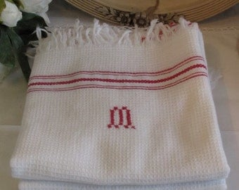 Gorgeous French, set of four fringed hand, tea towels monogrammed M. Classic French country chic