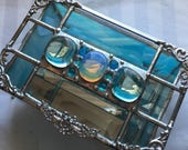 CUSTOM for SHERYL|Stained Glass Jewelry Box|Opalite|Beveled Glass|Turquoise Jewelry Box|OOAK|Handcrafted|Made in America