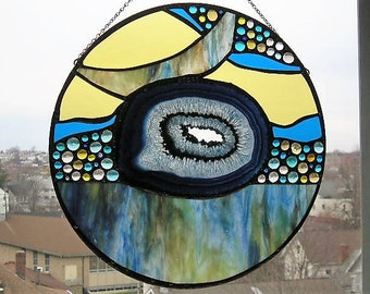 Stained Glass Art Panel|Agate|Blue|Gold|Aqua|Round with Agate|Abstract|OOAK|Art & Collectibles|Glass Art|Panel|Handcrafted|Made in USA
